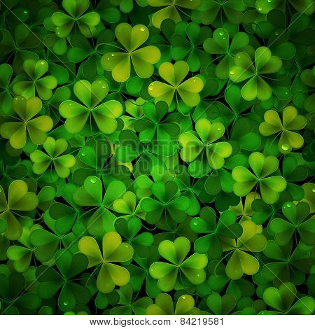 Vector Background With Green Realistic Saint Patricks Day Shamrock Leaves