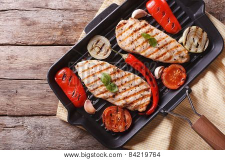 Chicken Breast With Vegetables In Pan Grill Horizontal Top View