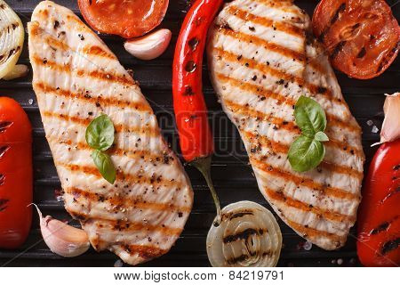 Chicken Breast With Vegetables In A Skillet Grill Top View Macro