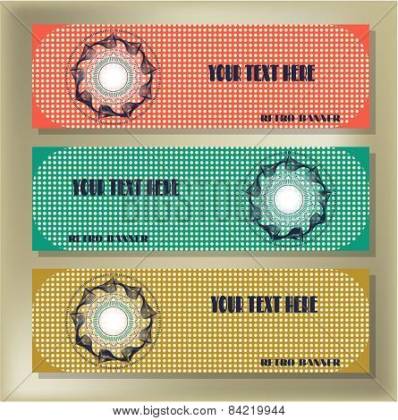 Set of three retro, dotted banners