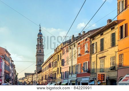 Main Street With Shops And People In Parma, Italy