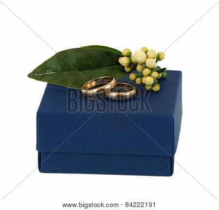 Blue Box With Wedding Rings.