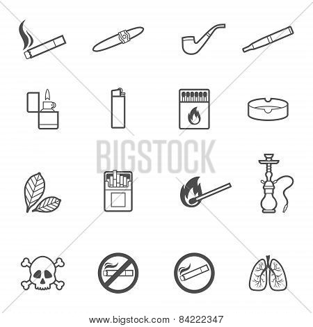 Smoking vector line style icons set