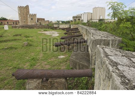 Old cannons at the fortress wall of Ozama Fortress in Santo Domingo, Dominican Republic.