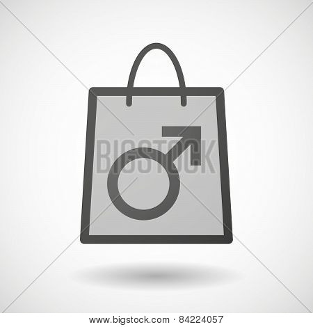 Shopping Bag Icon With A Male Sign