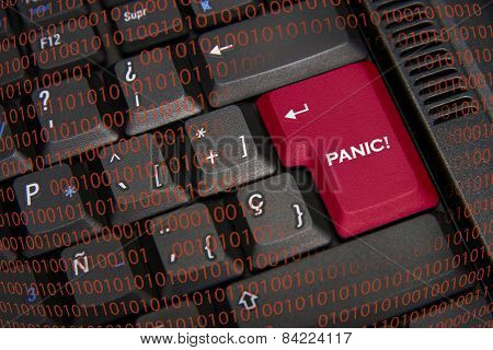 Panic In Black Keyboard And Red Key