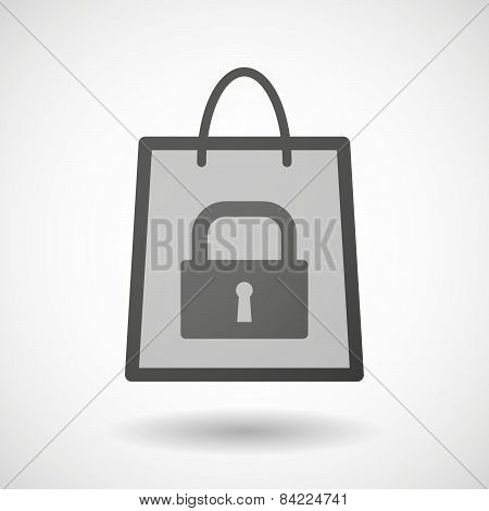 Shopping Bag Icon With A Lock Pad
