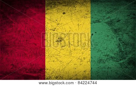 Flag Of Guinea With Old Texture. Vector