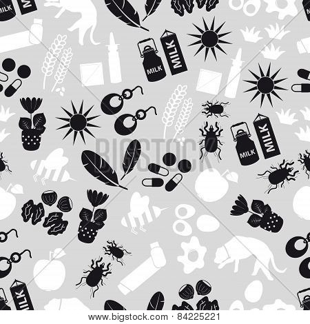 Allergy And Allergens Gray Seamless Pattern Eps10