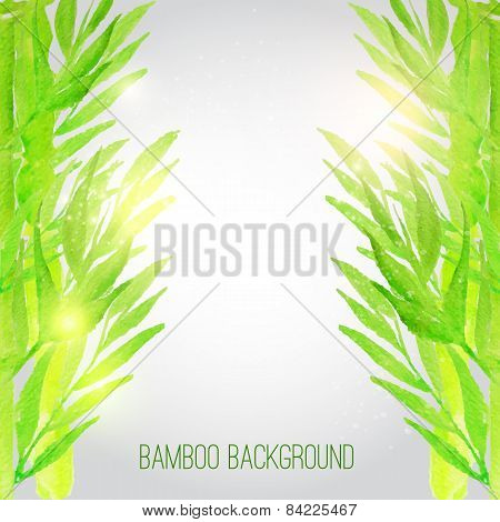 Vector watercolor bamboo background with green leaves. Artistic vector design for banners, greeting