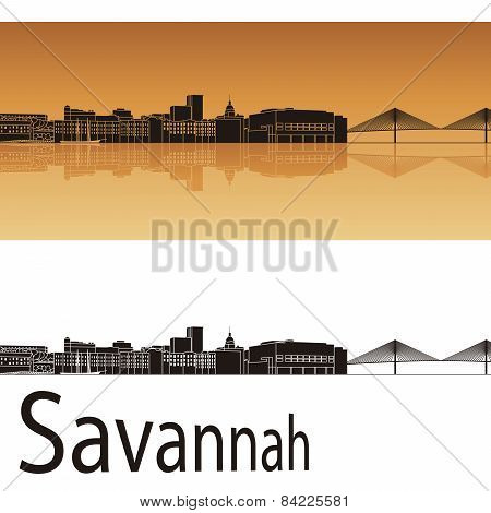 Savannah Skyline In Orange Background