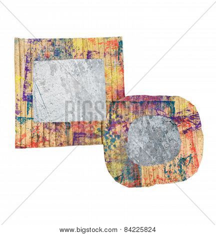 Two Blank Grunge Wall, Colorful Painted Cardboard Frames, Isolated On White Background