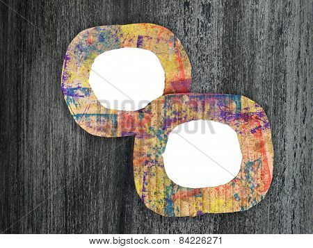 Two Blank Colorful Painted Cardboard Frames On Grunge Background