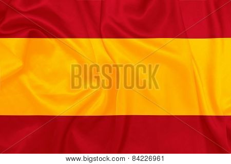 Spain - Waving national flag on silk texture