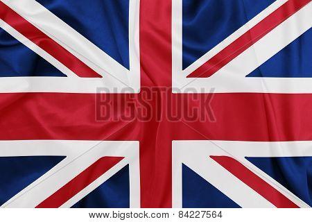 United Kingdom - Waving national flag on silk texture