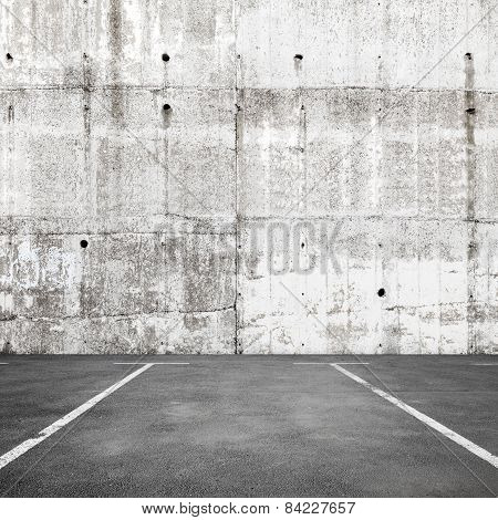 Abstract Empty Parking Interior Background With Road Marking