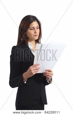 Serious Business Woman Reading A Report
