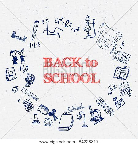 Blue Ink Back to School Doodles with Book, Bag, Art Supplies and Book.Hand-Drawn Vector Illustration