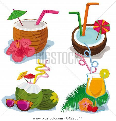 tropical cocktails on a white background.