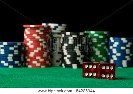 Red Dices And Poker Chips