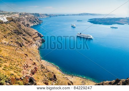 Cruise Ships Near The Greek Islands