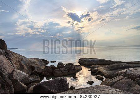 Sunrise In The Morning With Fog Landscape Around Lamai Beach , Samui Island, Thailand