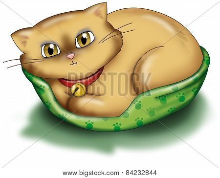 Cute cream cat illustration