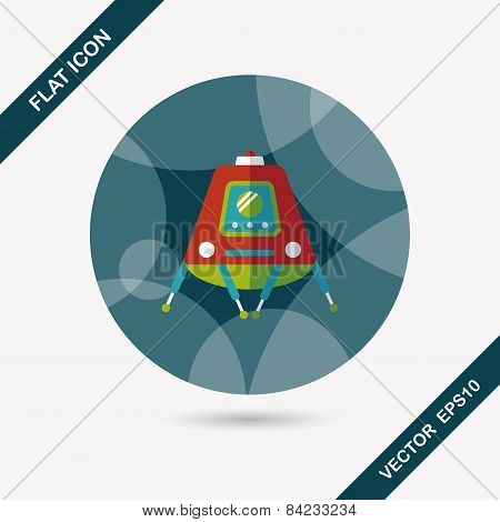 Space Rover Flat Icon With Long Shadow,eps10