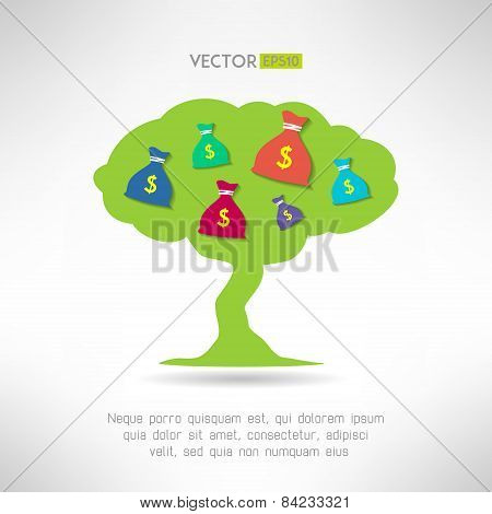 Green tree with money bags. Prosperity and treasure concept. Vector illustration