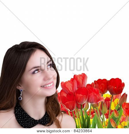 Holiday Light Easter.beautiful  Girl With Tulips