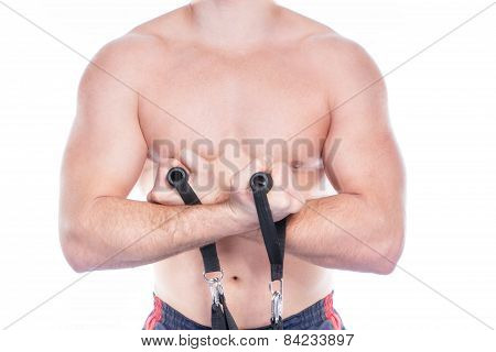 Muscular Man With Expander Isolated On White Backgrounds