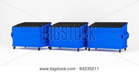 Realistic blue trash boxes.