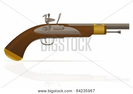 Old Retro Flintlock Pistol Vector Illustration