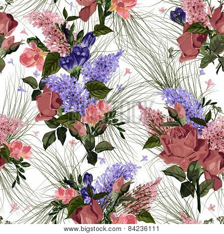 Seamless Floral Pattern With Roses And Lilac On White Background