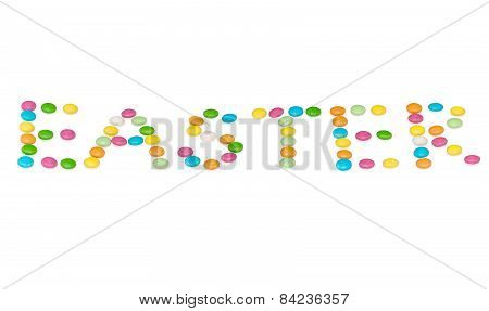 happy letters easter, colored candys isolated on white background