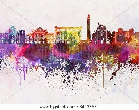 Bari Skyline In Watercolor Background
