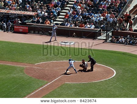 Cubs Alfonso Soriano At Bat With Buster Posey Catching
