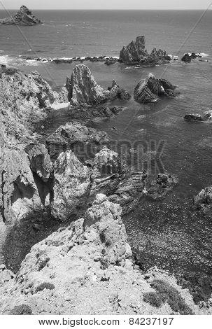 Mediterranean Cliffs Coastline In Almeria, Spain