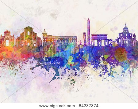 Bologna Skyline In Watercolor Background