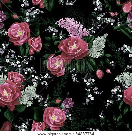 Seamless Floral Pattern With Roses And Lilac On Black Background