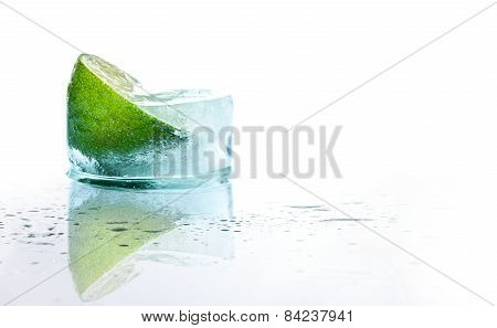 Fresh Lime And Slice With Ice At Recliner - Chair, Isolated On White Background