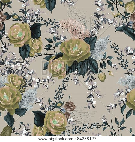 Seamless Floral Pattern With Roses And Lilac On Light Background