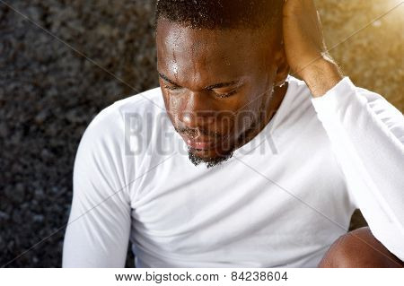 African American Man Resting After Work Out