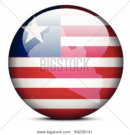 Map On Flag Button Of Liberia