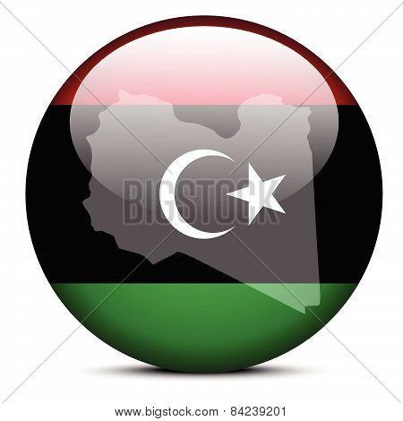 Map On Flag Button Of Libya (libian Arab Jamahiriya)