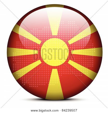 Map With Dot Pattern On Flag Button Of  Macedonia