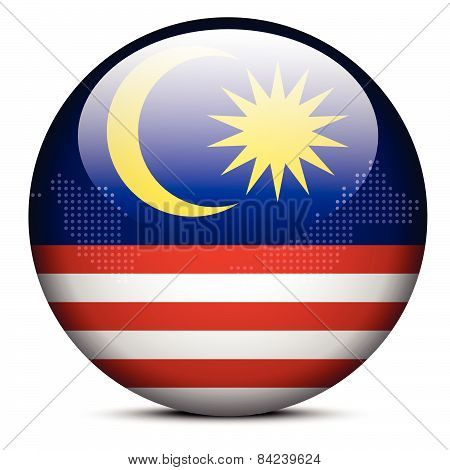 Map With Dot Pattern On Flag Button Of Malaysia