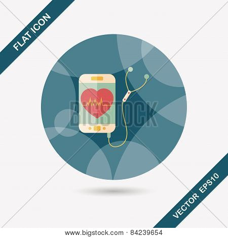 Heart Rate Sport Equipment Flat Icon With Long Shadow,eps10