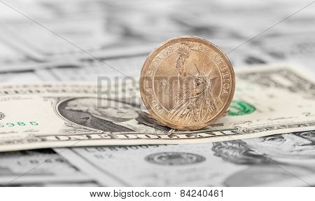 American Dollars Coin And Banknotes Close Up