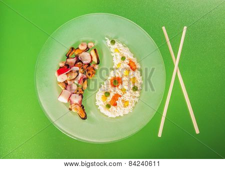 Chinese Asian Seafood And Risotto With Side Dish